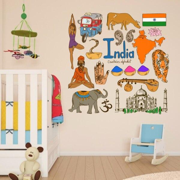 Indie barevné ilustrace cestování slovo mezník nástěnné nálepky svatební výzdoba vinyl vodotěsné nástěnné nálepky tapety obtisk