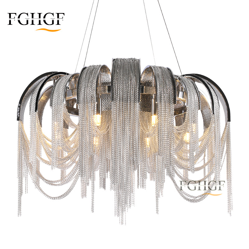 Nordic Modern Chandelier Light Silver Aluminum Chain Tassel Chandeliers Hanging Lighting Round Hotel Lobby Lamp bulbs Lustres|Chandeliers| |  - title=