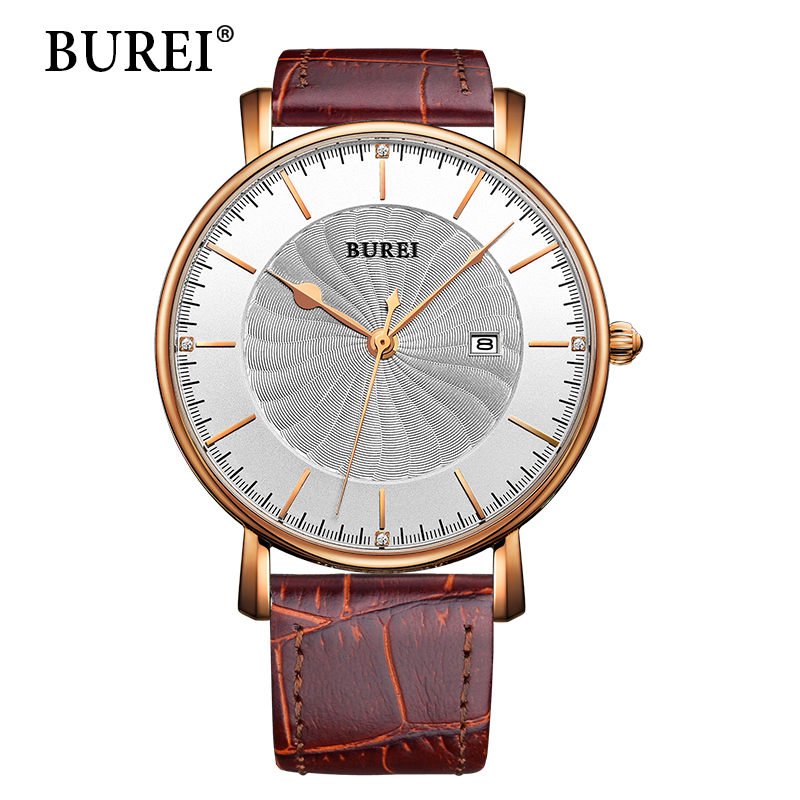 BUREI Men Watches Top Fashion Brand Hour Genuine Leather Strap New Date Quartz Waterproof Wristwatch Male Casual Hot Sale Gift gnoth top brand men watch leather quartz analog hour fashion sapphire clock male waterproof wristwatch hot sale 2017 new arrival