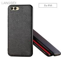 LANGSIDI Brand Phone Case Litchi Grain Full Wrapped Phone Case For Huawei P10 Phone Case Full