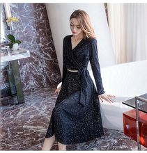 Knitted Two Pieces Sets Elegan Women Solid Black Skirt+Shirt Sashes Long Sleeve V Neck Slim Blouse