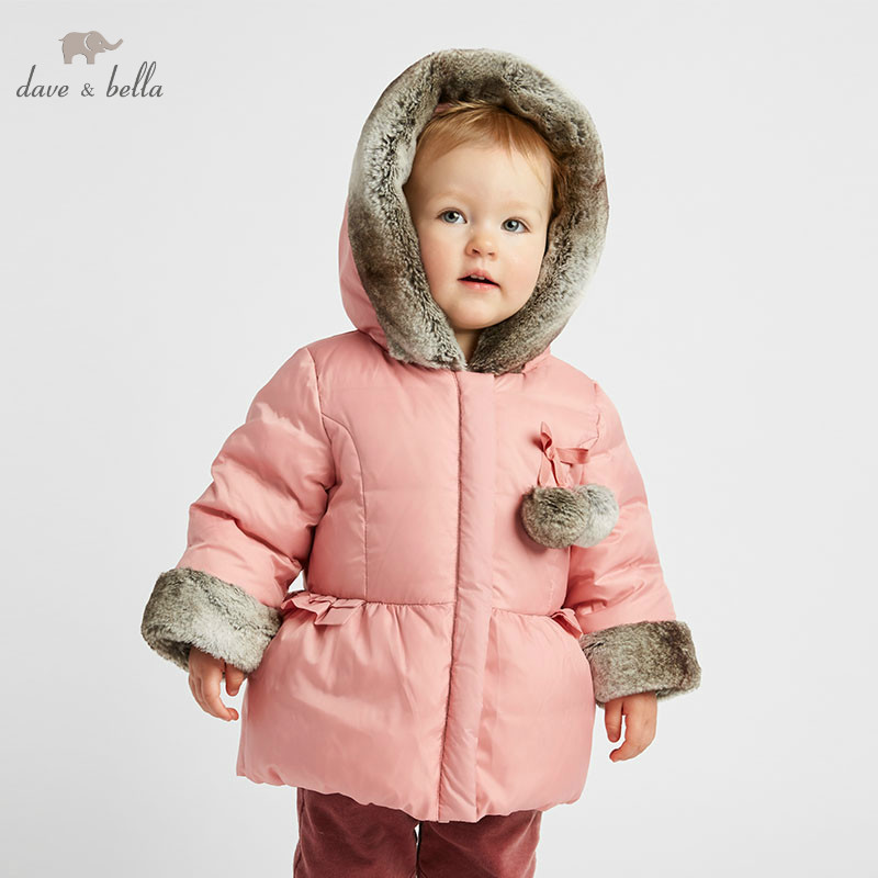 DB9650 dave bella winter baby down coat girls hooded outerwear children 90 white duck down padded