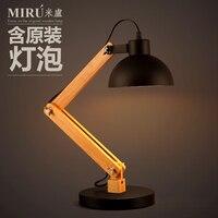 Промышленные Винтаж Лофт Стиль деревянный стол лампа одна голова исследование американской страны Спальня светодиодный свет стол Бесплат