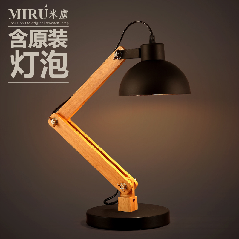 Industrial Vintage Loft Style Wooden Table Lamp Single Head American Country Study Bedroom LED Table Light Free Shipping long shape american country design wooden philippine dining table set