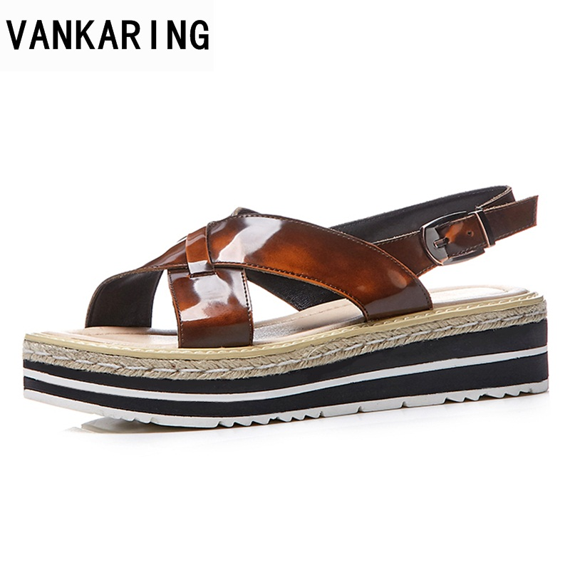 VANKARING women sandals 2018 new genuine leather fashion summer woman casual shoes wedges high heelscow leather gladiator sandal woman fashion high heels sandals women genuine leather buckle summer shoes brand new wedges casual platform sandal gold silver