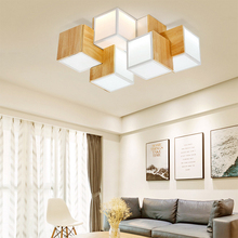 Modern LED wood Ceiling Light Fixtures creative square For Living Room Bedroom Home indoor aluminum Lighting White ceiling lamp