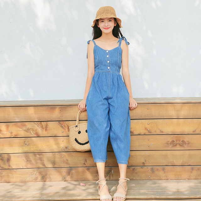 5d31a85f58da 2018 New Women Vintage Jumpsuits Adjustable Bow Strap Wide Leg Denim Blue  Jeans Sleeveless Retro Rompers Casual Loose Pant Mujer