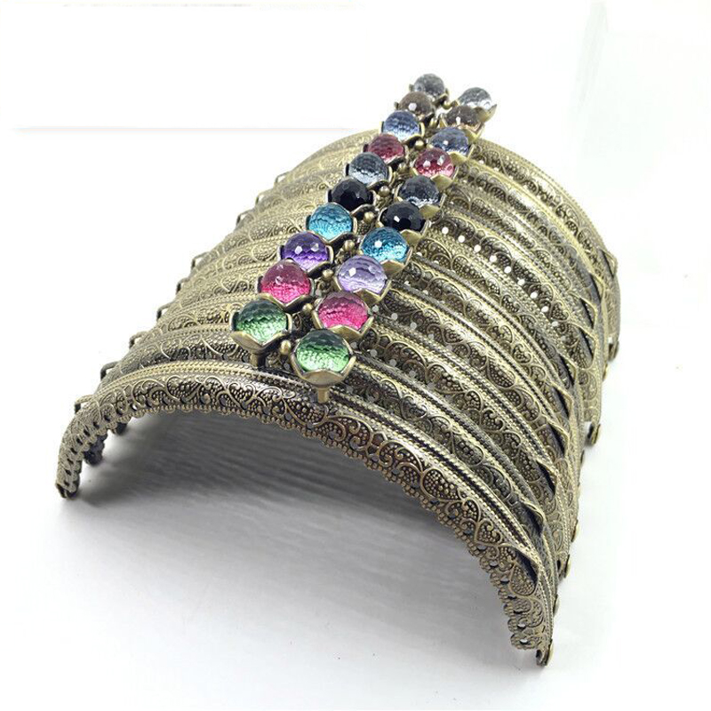 12.5cm Beautiful Women DIY Bag Metal Clasp Half Round Carved Floral Pattern Edge Colorful Candy Buckle Purse Frame 5pcs/lot