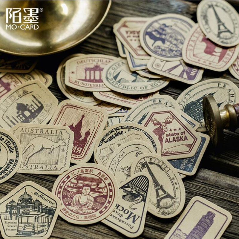 46pcs/Box Stationery Sticker Retro Stamp Seal Label Travel Sticker Decoration Scrapbook Diary Album Diy Stationery Seal Sticker