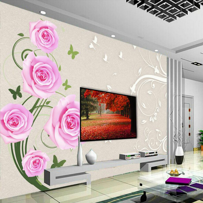 3d Silk Wallpaper for Living Room Home Improvement Modern Wallpaper Background Wall paper decoration Simple fashion rose flower 2014 new hot selling modern and simple home improvement project wallpaper wallpaper bars wholesale wall paper free shipping