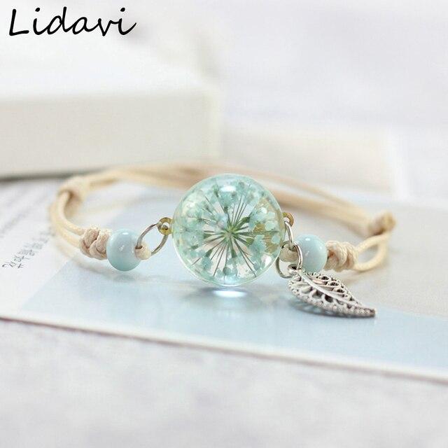 Lidavi Neue Boho Vintage Charme Armband Handgemachte Reale Trockene Blume Glas Ball Weben Einstellbar Armbänder Armreif für Frauen Mode