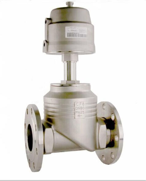 3 inch 2/2 way piston controlled flat-seat valve globe control valve big port with Flange ends 125mm S.S actuator