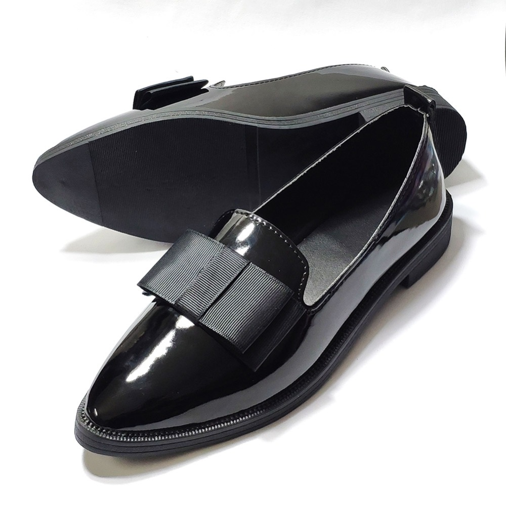 Patent leather Penny loafers women flats shoes slip on ...