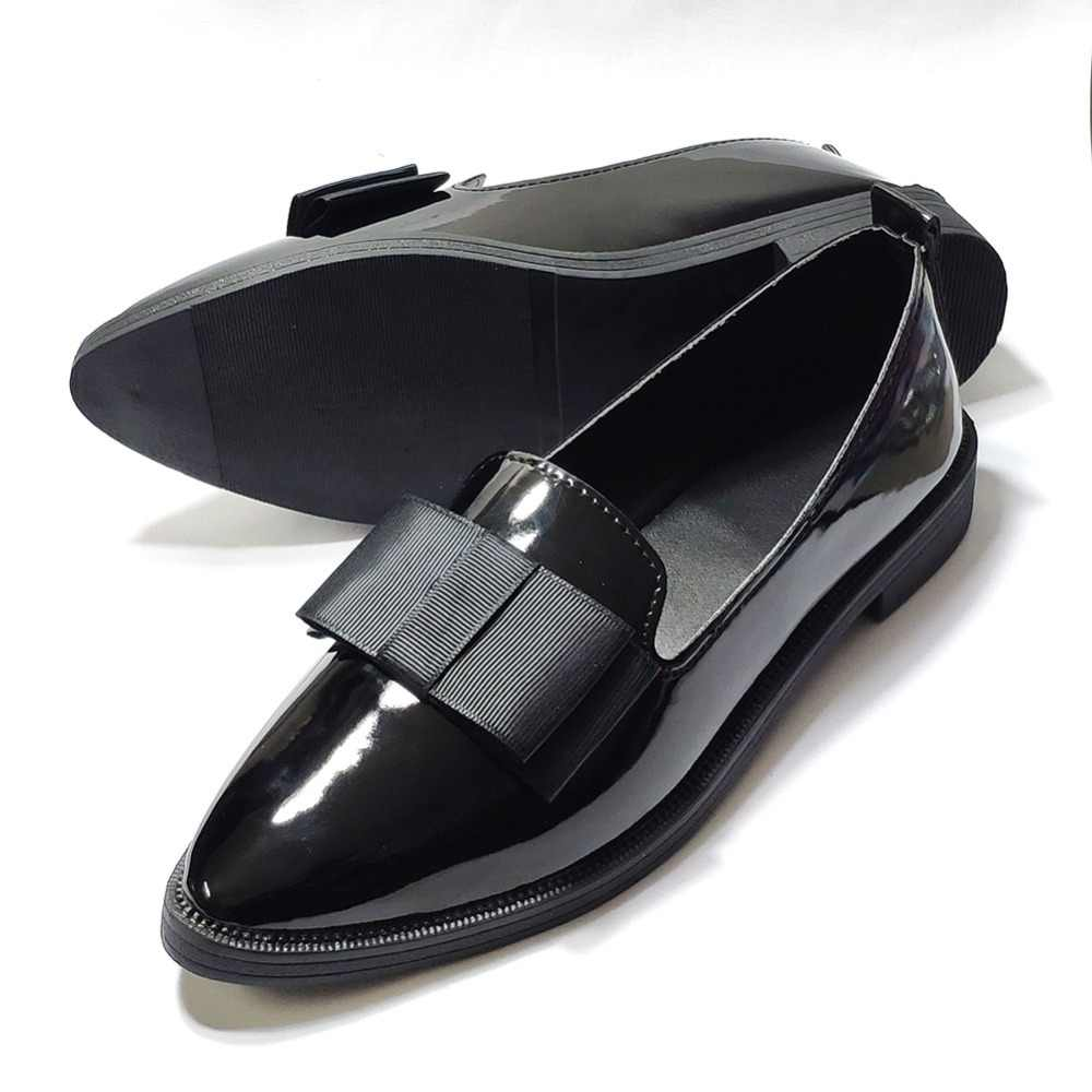 eb399c36c5be ... Patent leather Penny loafers women flats shoes slip on pointed toe  fashion office career work party ...