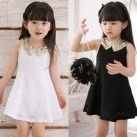 Dress Girl Princess 2016 Summer New Fashion Lace Sleeveless Girls Party Dress Sequin Collar Beautiful Kids Clothes Girls 2967W