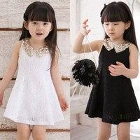 Dress Girl Princess 2016 Summer New Fashion Lace Sleeveless Girls Party Dress Sequin Collar Beautiful Kids