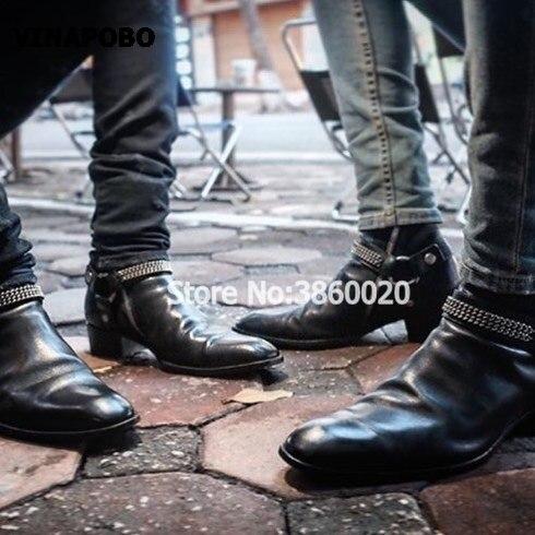 2018 VINAPOBO czarne prawdziwa skóry klamra pasek łańcuchy mężczyźni płaskie Chelsea buty elastyczna opaska patchwork buty do kostki luksusowa marka w Buty śnieżne od Buty na  Grupa 3