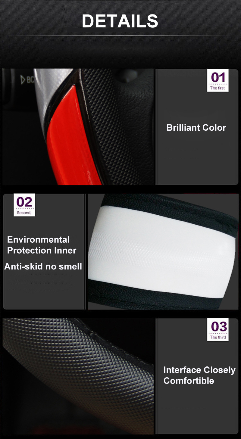 Reflective Movement Diamond Steering Wheel Cover 3 Colors Anti-slip For 38CM Car Styling Steering-wheel Car-covers Free Shipping 10