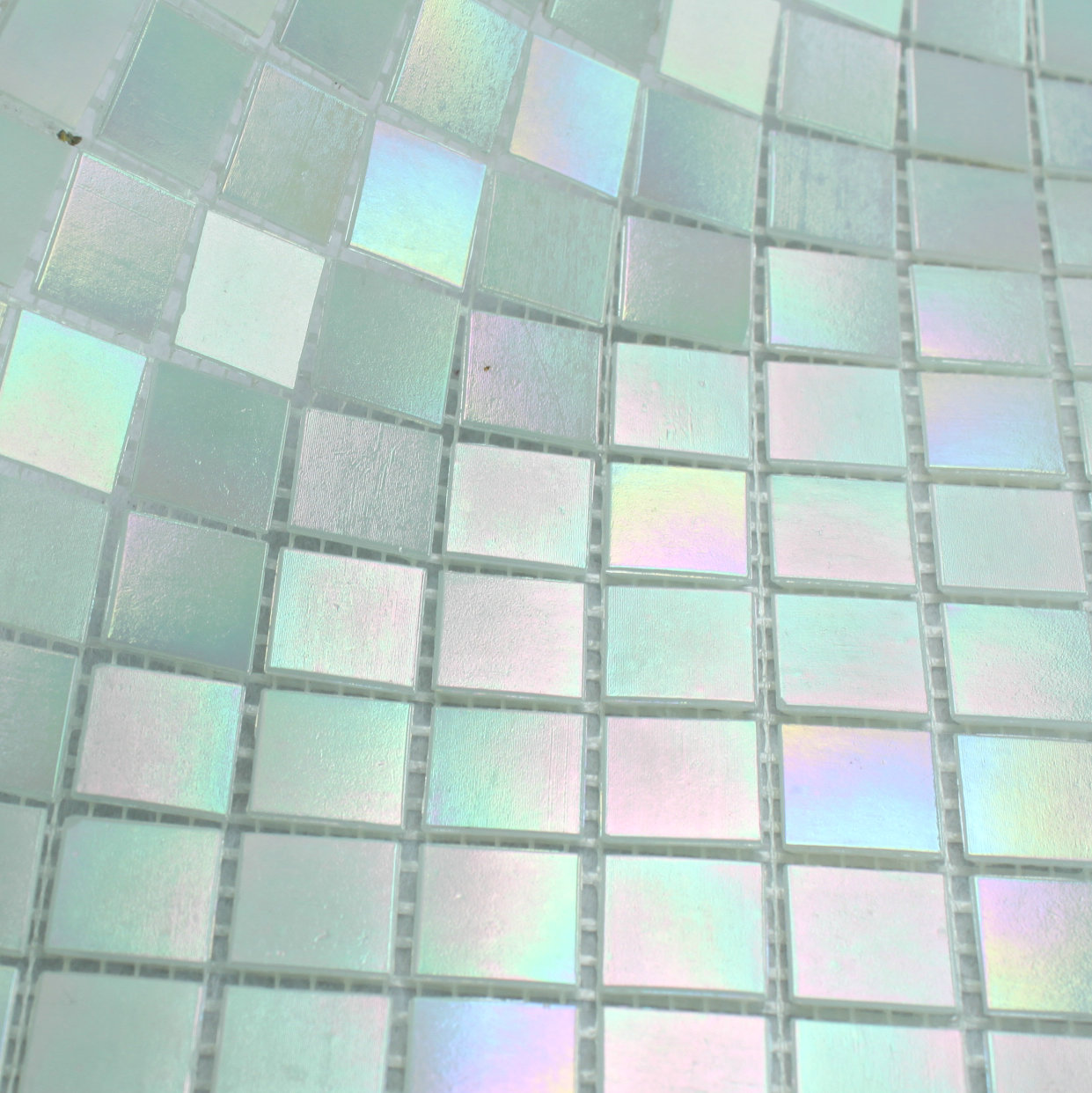 - Free Shipping Glimmer Rainbow Iridescent White Glass Mosaic Tile