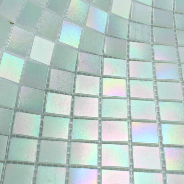 Us 159 99 Free Shipping Glimmer Rainbow Iridescent White Glass Mosaic Tile For Backsplash Kitchen Wall Tile Sticker Bathroom Floor Tile In