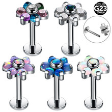 1PC G23 Titanium Opal Labret Stud Rings Crystal Flower Ear Tragus Earring Conch Piercing Dermal Anchor Tops Lip Piercing Jewelry(China)