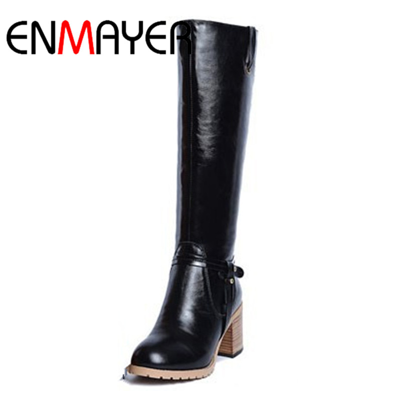 ФОТО ENMAYER  Knight Genuine Leather Boots Fashion Knee High Boots for Women Sexy Warm Long Boot Winter Snow Motorcycle Boots