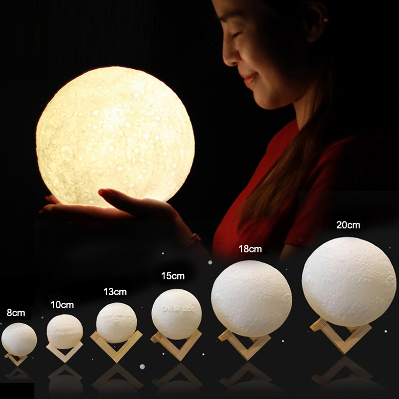 Mabor Rechargeable 3D Print Moon Lamp 2 Color Change Touch Switch Table Lamp Childrens Night Light Home Decor Gift Luminaria