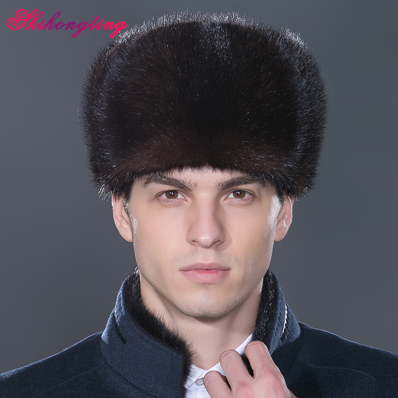 Man Snow Caps Genuine Mink Fur Hats Russian Ushanka Hat Solid Skullies Beanies Winter Men Whole