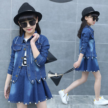 2019 new fashion baby girl denim clothes set spring and autumn jacket+jean skirt body suit girs clothing sets