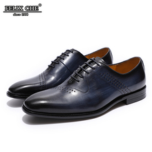 Men's Handmade Brogue Oxfords Genuine Leather Dress Shoes Dark Blue Party Office Formal Shoes Luxury Heels Mens Shoe -FELIX CHU цены онлайн