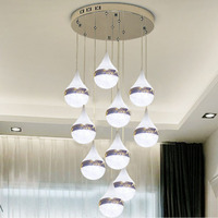 New Modern LED Crystal Restaurant Chandelier Staircase Chandelier Bedroom Hotel Hall Ceiling Chandelier