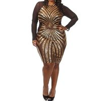 Womens Elegant Geometric Sequined Gauze Patchwork Sexy Perspective Sheath Party Causal Plus Size Bodycon Dress XXXL