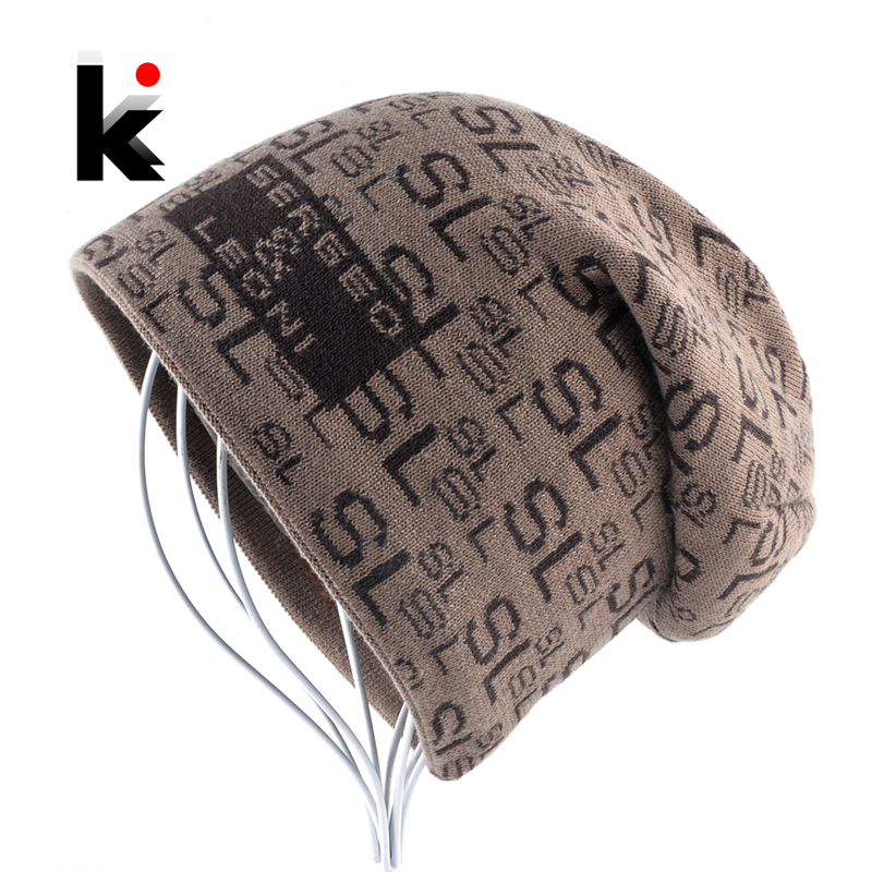 Men's Warm Bonnets Winter Fashion Knitted Letter   beanie   Hats For Men Thick Outdoor   Skullies     Beanies   Hip Hop Knitting Caps Women