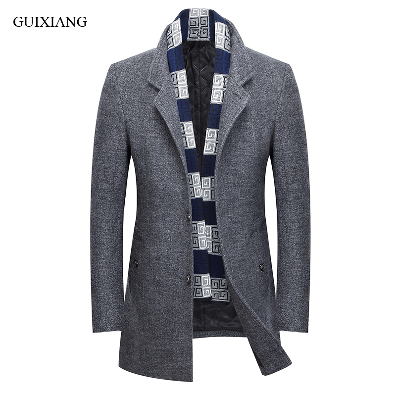 New arrival style men boutique warm woolen overcoat high quality business casual fashion stand collar mens solid blends coat