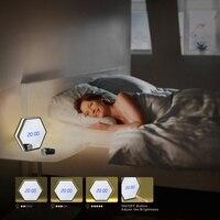DREAMSOULE LED 충전식 시간 날짜 온도 디스플레이 알람 시계 거울-블랙