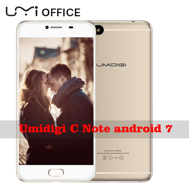 "Original Umidigi C Note 4G Mobile Phone 1920x1080 5.5"" MTK MT6737T Quad-core Android 7.0 3800Mah Battery Metal Bar Smartphone"