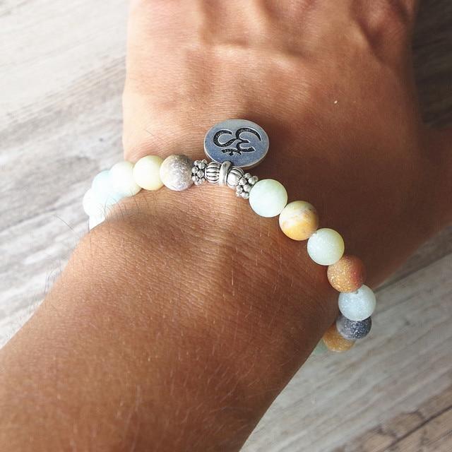 Matte Amazonite Stone Strand Bracelet Yoga Chakra Mala Bracelet OM Lotus Women Men Beaded 5
