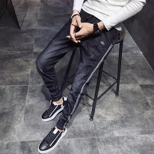 Image 5 - שחור מזדמן ג ינס גברים צד פסים שטף שרוך ג ינס מכנסיים זכר 2020 חדש Slim Fit למתוח מכנסי עיפרון איש