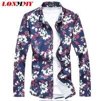 LONMMY M 7XL Floral Shirt Men Flower Mens Dress Shirts 2017 Spring Long Sleeves Shirt Men