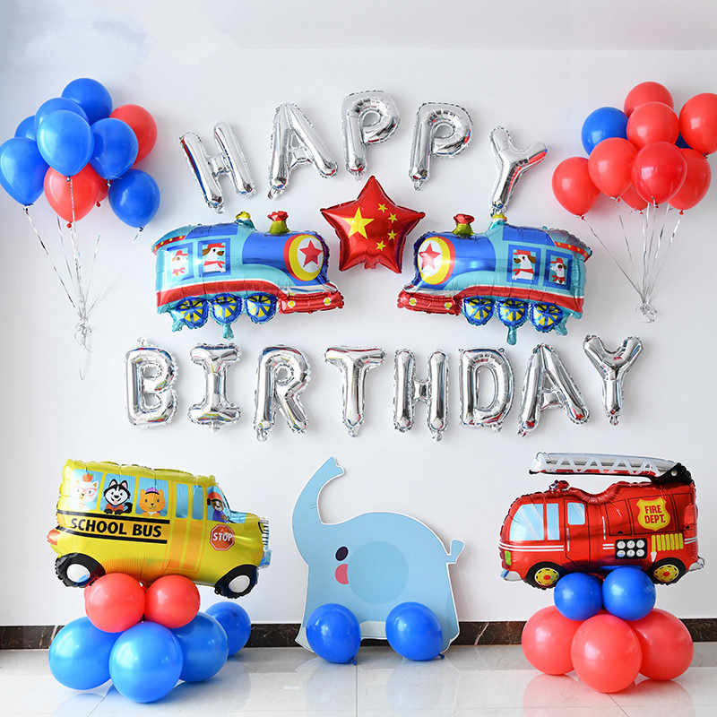 Train Fire Truck Bus Theme Excavator Inflatable Balloons Truck Vehicle Banners Baby Shower Kids Boys Birthday Party Supplies