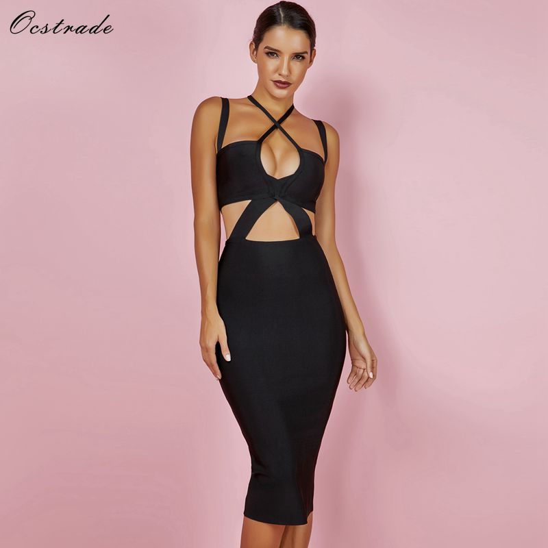 f918cc60dd9f7 US $28.9 31% OFF|Ocstrade Woman Sexy Bandage Dress 2018 New Hollow Out  Bandage Dress Cross Front Nightclub Black Bandage Dress Rayon-in Dresses  from ...
