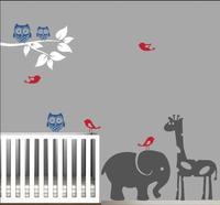 Diy אמנות מדבקות בעלי החיים עם ענף עץ בעלי חיים עיצוב חדר תינוק חדר שינה מדבקות קיר ויניל חומר רעיל ינשופי ציפורים za825