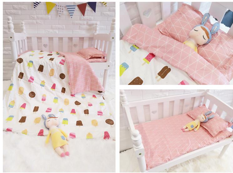 Cute Ice Cream Cot Bed Bedding 100%Cotton Thickening Customizable Baby Cot Blanket ,Duvet/Sheet/Pillow, With Filling