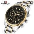 Известный Бренд GUANQIN Часы Мужчины Военная Световой Кварцевые Часы Moon Phase Мужские Часы Водонепроницаемые мужские Наручные Часы Неделя Дисплей