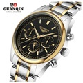 Famous Brand GUANQIN Watch Men Military Luminous Quartz Watch Moon Phase Mens Watch Waterproof Men's Wristwatches Week Display