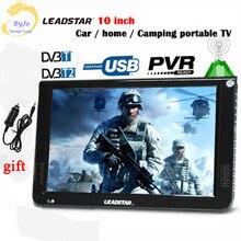 LEADSTAR-10 со светодиодной подсветкой диагональю ТВ цифровой плеер dvb-t/T2/ISDB/аналоговый все в одном мини ТВ Поддержка USB /TF & ТВ программы автомобильное зарядное устройство подарок