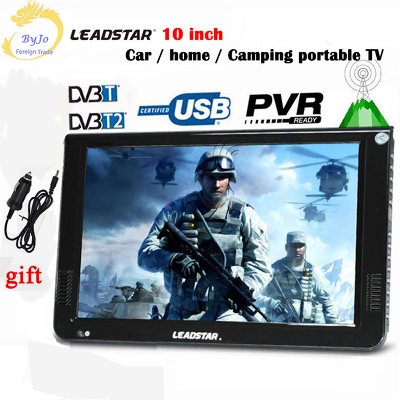 LEADSTAR D10 10inch LED <font><b>TV</b></font> digital player DVB T T2 AC3 Analog all in one Portable <font><b>TV</b></font> Support USB TF <font><b>TV</b></font> programs <font><b>Car</b></font> charger gift image