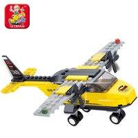 Sluban Model Building Kits Compatible With Lego City Trainer Aircraft Plane 915 3D Blocks Educational Toys