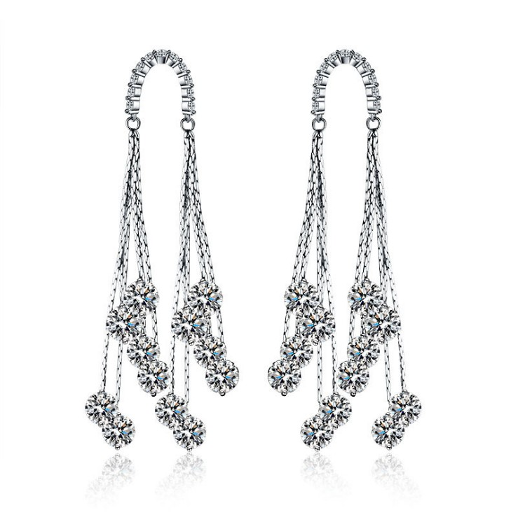 925 needles new fashion jewelry crystal from Swarovski wedding Europe Luxury AAA Zircon Earrings put allergy earrings wholesale