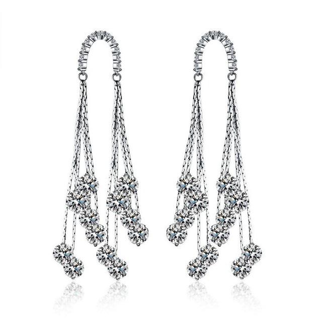 925 Needles New Fashion Jewelry Crystal From Swarovski Wedding Europe Luxury Aaa Zircon Earrings Put Allergy